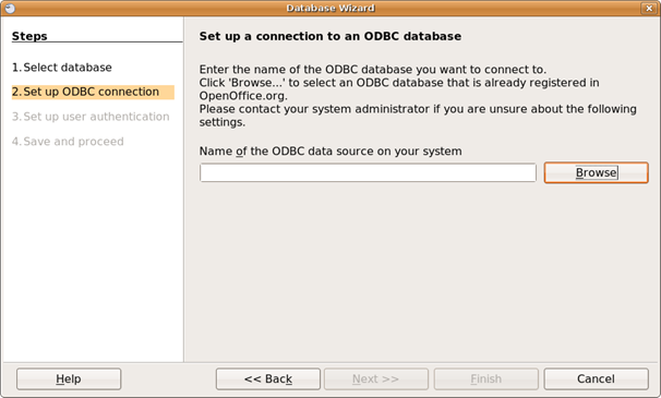 Browse ODBC data sources.
