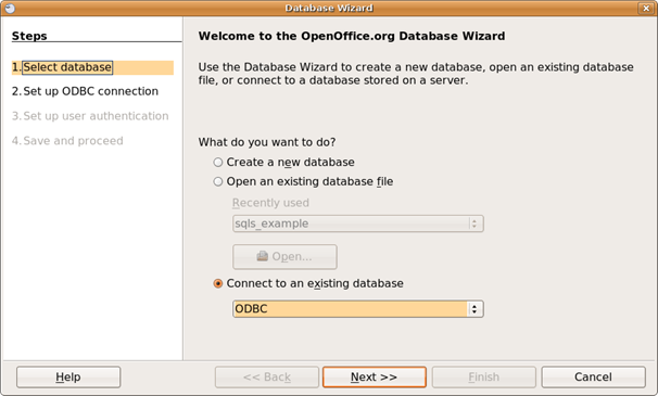 Connect to an ODBC database.