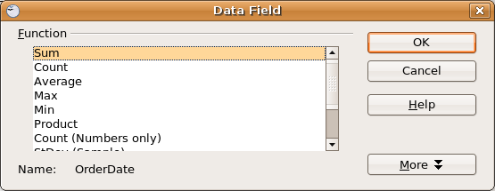 The Data Field dialog box lets you apply spreadsheet functions to the DataPilot.