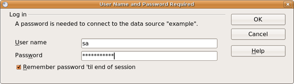 Type your database user name and password in the spaces provided.