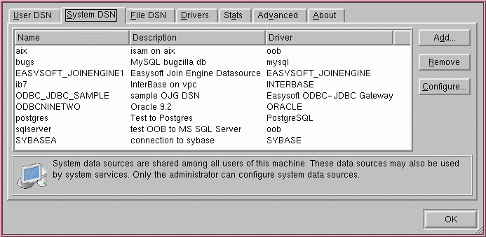 Linux ODBC System DSNs