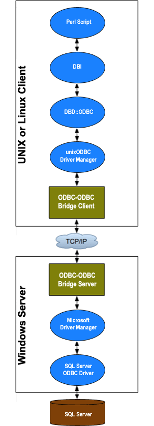 The components necessary to provide ODBC access to Microsoft SQL Server data from Perl on UNIX and Linux platforms.