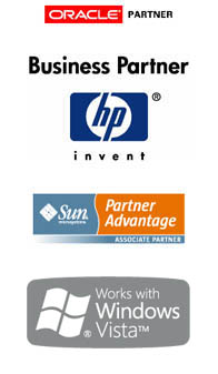 Oracle Partner. HP Business Partner. Sun Associate Partner. Works with Windows Vista.