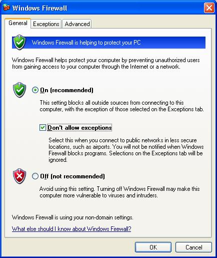 Windows Firewall dialogue box with Don't allow exceptions checked