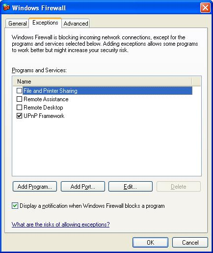 Windows Firewall dialogue box Exceptions tab