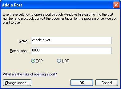 Add a Port dialogue box with esoobserver as the service name and 8888 as the port