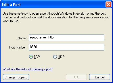 Edit a Port dialogue box with esoobserver_http as the service name and 8890 as the port